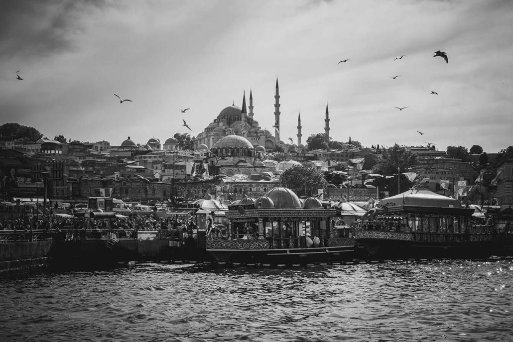 Reisefotografie Istanbul sw Bosporus