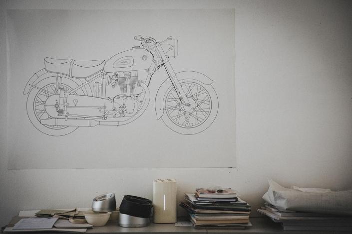 Skizze Motorrad